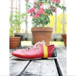 Unique red and yellow leather elevator shoes